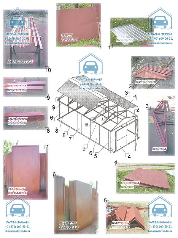 Конструктивные сборочные узлы гаража металлического