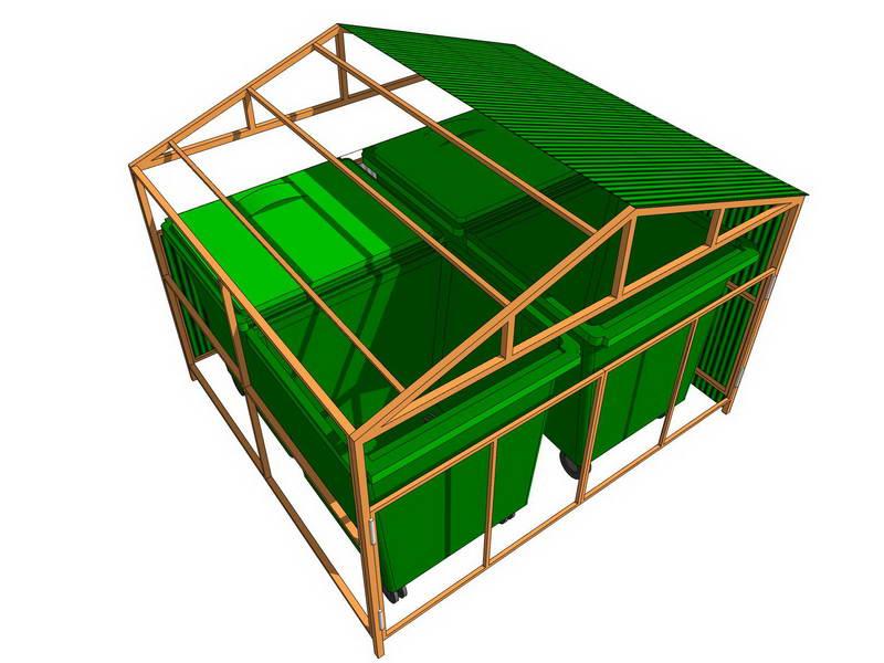 Двухскатный навес для контейнерной площадки Стандарт